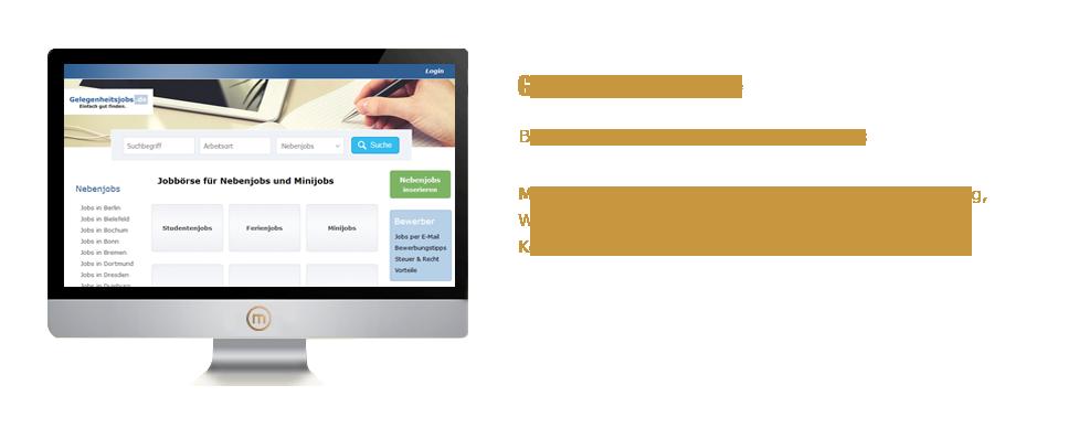 Mediaplant GmbH: Gelegenheitsjobs.de - Bundesweites Stellenportal für Nebenjobs; Mediaplant: Konzeption, Programmierung, Abwicklung, Weiterentwicklung, Hosting, Marketing, SEO, SEA, Kooperationen, Kundenbetreuung, Buchhaltung
