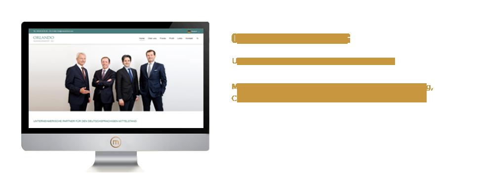 Mediaplant GmbH: Orlando Management AG - Umsetzung von 3 mehrsprachigen Websites; Mediaplant: Konzeption, Beratung, Programmierung, Content-Management-System, Schulung, Hosting