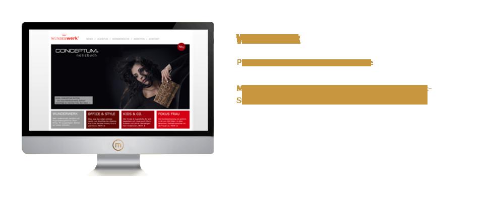 Mediaplant GmbH: Wunderwerk - Programmierung einer Agenturseite; Mediaplant: Umsetzung im Content-Management-System (CMS), Schulung der Mitarbeiter